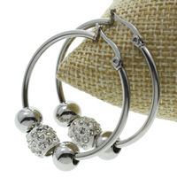 Stainless Steel Hoop Earring, with Rhinestone Clay Pave, original color, 34x39x9mm, 10Pairs/Bag, Sold By Bag