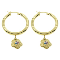 Stainless Steel Hoop Earring, with Rhinestone Clay Pave, Flower, gold color plated, 33x54x4mm, 10Pairs/Bag, Sold By Bag