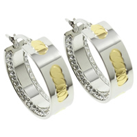 Stainless Steel Hoop Earring, with Rhinestone Clay Pave, plated, two tone, 25x8mm, 10Pairs/Bag, Sold By Bag
