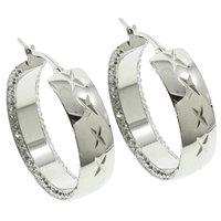 Stainless Steel Hoop Earring, with Rhinestone Clay Pave, flower cut, original color, 30x33x8mm, 10Pairs/Bag, Sold By Bag
