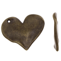 Zinc Alloy Heart Pendants, antique bronze color plated, lead & cadmium free, 33x28x2mm, Hole:Approx 1mm, Approx 110PCs/KG, Sold By KG