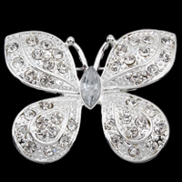 Zinc Alloy Brooches, Butterfly, silver color plated, with rhinestone, lead & cadmium free, 40x32x4mm, Sold By PC