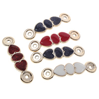 Acrylic Connectors, Heart, gold color plated, enamel & 1/1 loop & colorful powder, mixed colors, 68x17x3mm, Hole:Approx 3mm, 100PCs/Bag, Sold By Bag
