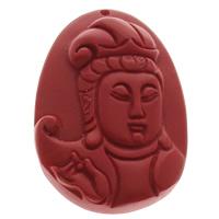 Zawieszki Cinnabar, Cynober, Płaski owal, Buddyjski biżuteria, czerwony, 38x48x10mm, otwór:około 1mm, 10komputery/torba, sprzedane przez torba