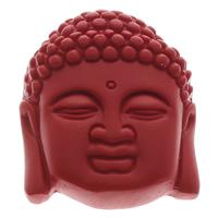 киновари Подвески, Киноварь, Будда, буддийский ювелирных изделий, красный, 37x45x13mm, отверстие:Приблизительно 1mm, 10ПК/сумка, продается сумка