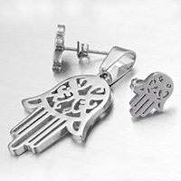Stainless Steel Jewelry Sets, pendant & earring, Hamsa, Islamic jewelry, original color, 20x30x2mm, 9x12x2mm, Hole:Approx 4x9mm, 20Sets/Lot, Sold By Lot