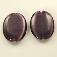 Cats Eye Jewelry Beads, Flat Oval, dark purple, 32x25x6mm, Hole:Approx 2mm, 30PCs/Lot, Sold By Lot