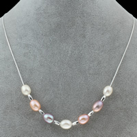 925 Sterling Silver Pearl Necklace, Freshwater Pearl, with 925 Sterling Silver, natural, box chain, multi-colored, Grade AA, 8-9mm, Sold Per Approx 17 Inch Strand