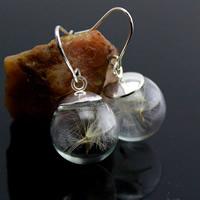 Стеклянный глобус Серьги, с Железо, Круглая, Платиновое покрытие платиновым цвет, с Семена одуванчика, 16mm, продается Пара