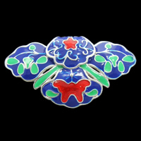 Cloisonne Pendant, Flower, handmade, lead & cadmium free, 34x19x6mm, Hole:Approx 3x5mm, Sold By PC