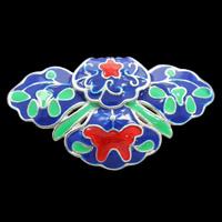 Cloisonne Wisiorek, Kwiat, Ręcznie robione, bez zawartości ołowiu i kadmu, 34x19x6mm, otwór:około 3x5mm, sprzedane przez PC