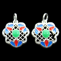 Cloisonne Pendant, Flower, handmade, hollow, lead & cadmium free, 14x16x4mm, Hole:Approx 3mm, Sold By PC