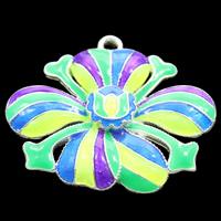клуазоне подвеска, Форма цветка, Связанный вручную, не содержит свинец и кадмий, 33x27x4mm, отверстие:Приблизительно 2mm, продается PC