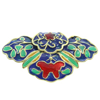 Cloisonne Pendant, Flower, handmade, lead & cadmium free, 34x19x7mm, Hole:Approx 3x5mm, Sold By PC