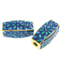 Sterling Silver Cloisonne Beads, Rectangle, handmade, 17x8mm, Hole:Approx 2mm, Sold By PC