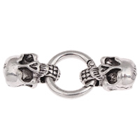 Zinc Alloy Snap Clasp, Skull, antique silver color plated, with end cap, lead & cadmium free, 59x25x11mm, Hole:Approx 11.5x6mm, Sold By PC