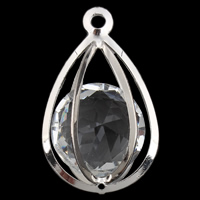 Crystal Pendants, Iron, with Crystal, Teardrop, silver color plated, faceted, lead & cadmium free, 31x50mm, Hole:Approx 4mm, Sold By PC