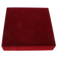 Velveteen Necklace Box, with Cardboard, Square, red, 188x45x188mm, Sold By PC