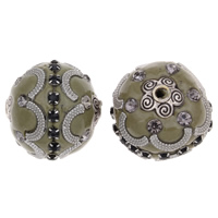 Indonesia Beads, Zinc Alloy, with Indonesia, Drum, antique silver color plated, with rhinestone, lead & cadmium free, 20x22mm, Hole:Approx 2mm, Sold By PC