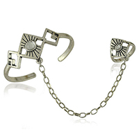Zinc Alloy Bracelet Ring, with Crystal, Rhombus, platinum color plated, oval chain & blacken, nickel, lead & cadmium free, 22mm, 27mm, Inner Diameter:Approx 60mm, US Ring Size:6.5, Length:Approx 7.4 Inch, 20PCs/Lot, Sold By Lot