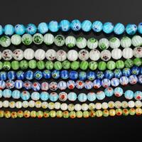 Бисер, выполненный в технике миллефиори, шеврон, Круглая, Связанный вручную, разный размер для выбора, Много цветов для выбора, длина:Приблизительно 14 дюймовый, продается Лот