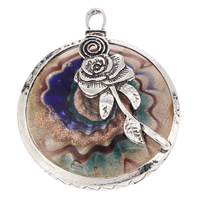Fashion Lampwork Pendants, Zinc Alloy, with Lampwork, Flat Round, antique silver color plated, with flower pattern & gold sand, green, nickel, lead & cadmium free, 53x67x15mm, Hole:Approx 5x8mm, 10PCs/Bag, Sold By Bag