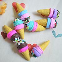 Кабошоны из полимерной глины, полимерный клей, Мороженое, разноцветный, 15x33mm, 100ПК/Лот, продается Лот