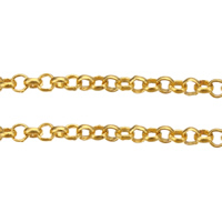 Mosiądz Łańcuch, Platerowane w kolorze złota, Rolo łańcucha, bez zawartości niklu, ołowiu i kadmu, 2x0.70x0.40mm, 100m/wiele, sprzedane przez wiele