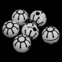Antique Acrylic Beads, Round, Imitation Antique, white, 12x11mm, Hole:Approx 2mm, Approx 500PCs/Bag, Sold By Bag