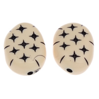Antique Acrylic Beads, Flat Oval, Imitation Antique, beige, 25x33x15mm, Hole:Approx 3mm, Approx 55PCs/Bag, Sold By Bag