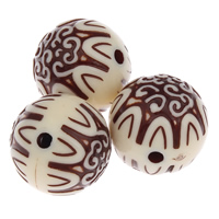 Antique Acrylic Beads, Round, Imitation Antique, beige, 19mm, Hole:Approx 3mm, Approx 100PCs/Bag, Sold By Bag