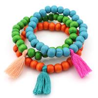 Деревянные браслеты, деревянный, с Хлопок, кисточка, разноцветный, длина:Приблизительно 7 дюймовый, 10пряди/Лот, продается Лот