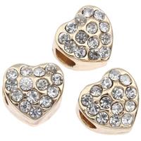 Lo zinco in lega European Beads, lega in zinco, Cuore, placcato color oro, senza filo & con strass, assenza di piombo & cadmio, 11x10mm, Foro:Appross. 4mm, Venduto da PC