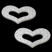 ABS пластик жемчужина основа под кабошон, Сердце, плоской задней панелью, белый, 41x23x7mm, отверстие:Приблизительно 22x6mm, внутренний диаметр:Приблизительно 1mm, Приблизительно 311ПК/сумка, продается сумка