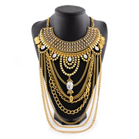 Zinc Alloy Jewelry Necklace, with iron chain & Acrylic, with 3lnch extender chain, antique gold color plated, twist oval chain & with rhinestone, nickel, lead & cadmium free, 290mm, Sold Per Approx 18.5 Inch Strand