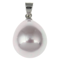 South Sea Shell Pendant with brass bail Teardrop platinum color plated natural purple 12x18mm Hole:Approx 3x4mm