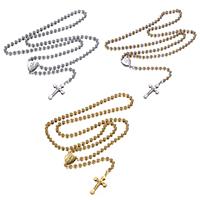 Четки Ожерелье, нержавеющая сталь, Инсус крест, Другое покрытие, христианское ювелирное изделие & мяч цепь, Много цветов для выбора, 13.5x18x1.5mm, 17.5x30x2.5mm, 4mm, длина:Приблизительно 25.5 дюймовый, 10пряди/Лот, продается Лот
