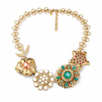 Zinc Alloy Jewelry Necklace, with Resin & Plastic Pearl, with 2.3 lnch extender chain, gold color plated, enamel & faceted & with rhinestone, nickel, lead & cadmium free, 50mm, Sold Per Approx 18.8 Inch Strand