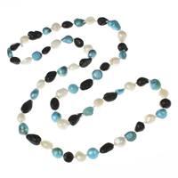 Natural Freshwater Pearl Long Necklace, with 5cm extender chain, Baroque, multi-colored, 8-10mm, Sold Per Approx 28 Inch Strand