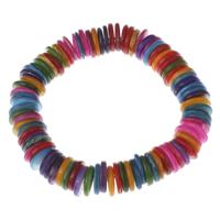 Браслеты из ракушек , Ракушка, с 5cm наполнитель цепи, Плоская круглая форма, разноцветный, 11x2mm, Продан через Приблизительно 7 дюймовый Strand