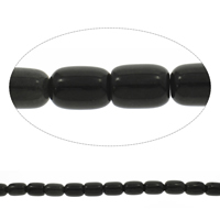 Natural Black Stone Beads, Column, 13x17mm, Hole:Approx 1mm, Length:Approx 15 Inch, 10Strands/Bag, Approx 22PCs/Strand, Sold By Bag