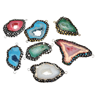 Druzy Connector Ice Quartz Agate with Rhinestone Clay Pave   Abalone Shell   Brass plated natural   druzy style   mixed   1/1 loop 38-56x21-35x6-8mm Hole:Approx 2mm 5PCs/Lot