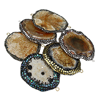 Druzy Connector Ice Quartz Agate with Rhinestone Clay Pave   Abalone Shell   Brass plated natural   druzy style   mixed   1/1 loop 62-67x41-49x6-7mm Hole:Approx 3mm 5PCs/Lot