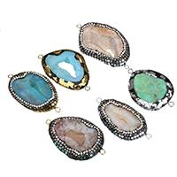 Природного кварца Разъем, Ледниковый кварц-агат, с клей & Раковина морское ушко & Латунь, Другое покрытие, природный & druzy стиль & золотая и серебряная мишура & разнообразный & 1/1 петля, 54-67x28-39x10-14mm, отверстие:Приблизительно 3mm, 5ПК/Лот, продается Лот