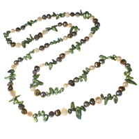 Natural Freshwater Pearl Long Necklace, Keishi, multi-colored, 4-10mm, Sold Per Approx 44 Inch Strand