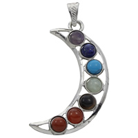 Gemstone Pendants Jewelry, Zinc Alloy, with Gemstone, Moon, platinum color plated, natural, lead & cadmium free, 14x66x7mm, Hole:Approx 5x7mm, Sold By PC