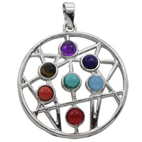 Gemstone Pendants Jewelry, Zinc Alloy, with Gemstone, Flat Round, platinum color plated, natural, lead & cadmium free, 34x38x6mm, Hole:Approx 5x7mm, Sold By PC