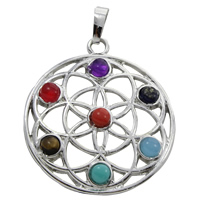 Gemstone Pendants Jewelry Zinc Alloy with Gemstone Flat Round platinum color plated natural lead   cadmium free 35x39x4.50mm Hole:Approx 5x7mm