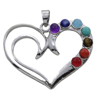Gemstone Pendants Jewelry, Zinc Alloy, with Gemstone, Heart, platinum color plated, natural, lead & cadmium free, 34x43x6mm, Hole:Approx 5x7mm, Sold By PC