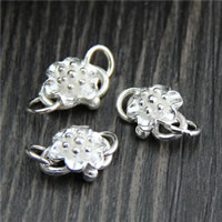 925 Sterling Silver S Hook Clasp, Flower, 9x16mm, Hole:Approx 3mm, 5PCs/Lot, Sold By Lot